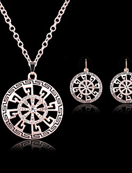 cheap -Jewelry Set Pendant Necklace Party Fashion Cubic Zirconia Rose Gold Plated Earrings Jewelry Gold For Party Special Occasion Anniversary Birthday Gift