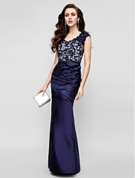 cheap -Mermaid / Trumpet Strapless Floor Length Lace Over Satin Color Block Formal Evening Dress with Lace / Side Draping 2020