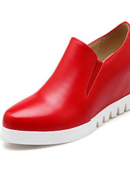 cheap -Women's Leatherette Loafers Platform / Wedge Heel Gore Leatherette Spring / Summer / Fall White / Black / Red