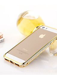 cheap -Case For iPhone 5 iPhone SE / 5s / iPhone 5 Rhinestone Bumper Solid Colored Hard Metal