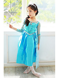 cheap -Princess Fairytale Elsa Dress Cosplay Costume Flower Girl Dress Girls' Movie Cosplay A-Line Slip Vacation Dress Blue / Blue / Green Dress Halloween New Year Chiffon