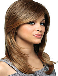 cheap -Synthetic Wig Straight Straight With Bangs Wig Blonde Medium Length Blonde Synthetic Hair Women's Blonde