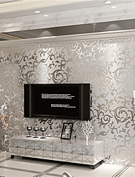 Недорогие -Цветочные серебристо-белые обои серый блеск викторианской тиснением настенное покрытие роскошь 100см * 53см (39 '' * 20 '')