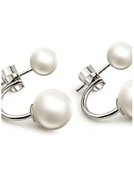 cheap -Women's Pearl Stud Earrings Jacket Earrings Ball Two Stone Ladies Fashion Pearl Earrings Jewelry White For Wedding Daily Masquerade Engagement Party Prom Promise