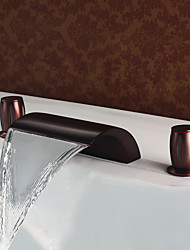 cheap -Simple Classic Style Widespread Waterfall Brass Valve Two Handles Three Holes Oil-rubbed Bronze, Bathroom Sink Faucet