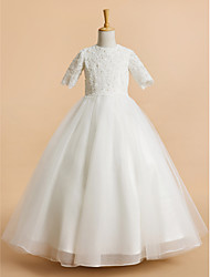 cheap -A-Line Tea Length Wedding / First Communion Flower Girl Dresses - Tulle Short Sleeve Jewel Neck with Lace
