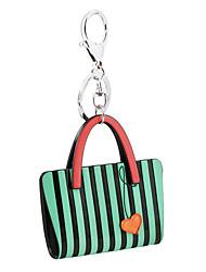 cheap -Trendy Fashion Acrylic Car Key Holder Women Handbag Purse Zebra Stripe Bag Heart Keychain Charm Gifts