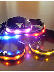 cheap -Dog Collar LED Lights Adjustable / Retractable Textile Plastic Blue Pink Rainbow