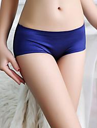 cheap -Women's Cotton Shorties & Boyshorts Panties / Seamless Panties Solid Colored Mid Waist Black Wine Royal Blue M L