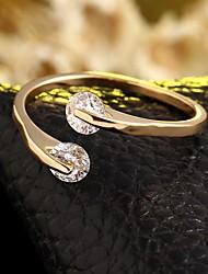 Недорогие -Жен. Кольцо кольцо для большого пальца Бриллиант Цирконий Серебряный Золотой Циркон Дамы Регулируется Свадьба Для вечеринок Бижутерия