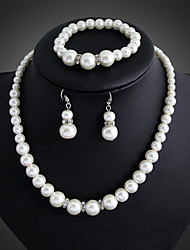 cheap -Women's Pearl Jewelry Set Drop Earrings Chains Ladies Party Link / Chain Elegant Bridal Pearl Silver Plated Earrings Jewelry White For Wedding Party Special Occasion Anniversary Birthday Gift