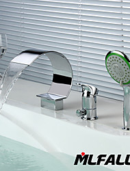 cheap -Bathroom Sink Faucet - Handshower Included Chrome Deck Mounted Single Handle Three HolesBath Taps / Brass