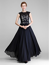 cheap -A-Line Mother of the Bride Dress Jewel Neck Floor Length Chiffon Lace Sleeveless with Lace 2021