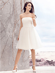 cheap -A-Line Strapless Knee Length Tulle Made-To-Measure Wedding Dresses with Ruched by LAN TING BRIDE® / Little White Dress