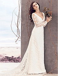 cheap -Sheath / Column V Neck Court Train Lace Long Sleeve Glamorous See-Through Made-To-Measure Wedding Dresses with Lace 2020