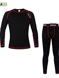 cheap -WOSAWE Men's Women's Long Sleeve Cycling Base Layer Black / Red Solid Color Bike Jersey Tights Clothing Suit Thermal / Warm Winter Sports Polyester Fleece Solid Color Mountain Bike MTB Road Bike