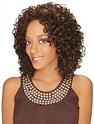 cheap -Synthetic Wig Curly Curly Middle Part Wig Medium Length Brown Synthetic Hair Women's Heat Resistant Fashion African American Wig Brown