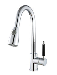 cheap -Kitchen faucet - Single Handle One Hole Chrome Pull-out / Pull-down Deck Mounted Contemporary Kitchen Taps / Brass