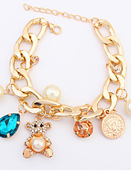 cheap -Crystal Chain Bracelet Bear Animal Ladies Unique Design Party Fashion Cute Gemstone & Crystal Bracelet Jewelry Gold For Party Gift Valentine / Pearl / Pearl / Cubic Zirconia