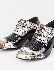 cheap -Men's Chunky Heel Lace-up Patent Leather Comfort / Roller Skate Shoes Spring / Summer / Fall Black / Wedding / Party & Evening / Winter / Party & Evening