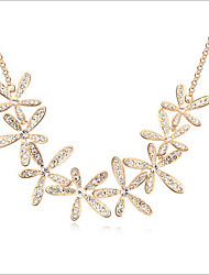 cheap -Women's Crystal Choker Necklace Flower Snowflake Ladies Synthetic Gemstones Rhinestone Alloy Gold Necklace Jewelry For