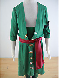 cheap -Inspired by One Piece Roronoa Zoro Anime Cosplay Costumes Japanese Cosplay Suits Solid Colored Coat Pants Armlet For Men's / Waist Accessory / Belt / Waist Accessory / Belt