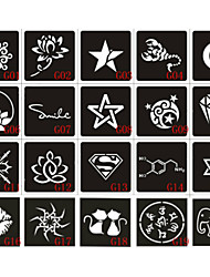 cheap -20pcs 6X6CM Henna Tattoo Stencil & Template For Painting, Airbrush Tatoo & Temporary Tattoos