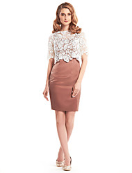 cheap -Sheath / Column Mother of the Bride Dress Convertible Dress Bateau Neck Short / Mini Lace Satin Half Sleeve with Lace 2021