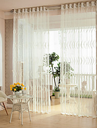 cheap -Two Panels Modern Stripe White Bedroom Polyester Sheer Curtains Shades
