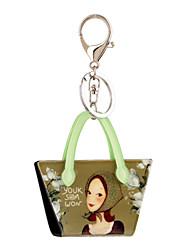 Недорогие -2016 ключевые цепи мультфильма милые девушки печать ювелирных изделий сумки брелок автомобиля женщин брелок для ключа кольцо оптового
