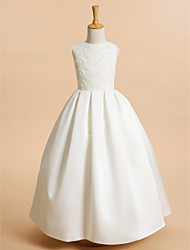cheap -A-Line Ankle Length Flower Girl Dress - Lace / Satin Sleeveless Jewel Neck with Lace / First Communion