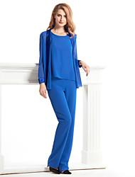 cheap -Jumpsuits Sheath / Column Pantsuit / Jumpsuit Mother of the Bride Dress Convertible Dress Jumpsuits Scoop Neck Ankle Length Chiffon Charmeuse Long Sleeve with Pleats 2021