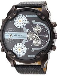 cheap -Men's Military Watch Wrist Watch Quartz Leather Black / Blue / Red Calendar / date / day Dual Time Zones Analog Red Blue Black / Orange