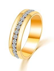 cheap -Band Ring Cubic Zirconia Round Cut Golden Silver Zircon Love Statement Ladies Classic / Women's