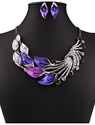 cheap -Women's Jewelry Set Drop Earrings Pearl Necklace Flower Statement Ladies Vintage Party Work Casual Cubic Zirconia Rhinestone Earrings Jewelry Purple / Green / Light Blue For Party Special Occasion