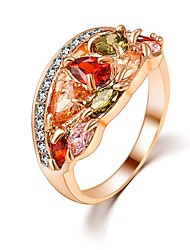 cheap -Hot Sale Unique Fashion Multicolor 18K Rose Gold Plated AAA Zircon Engagement/Weddding bijoux Rings Fine Jewelry