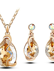 cheap -Women's Crystal Jewelry Set Pear Cut Ladies Crystal Earrings Jewelry Red / Blue / Golden For Wedding Party Birthday Engagement Gift Daily / Necklace