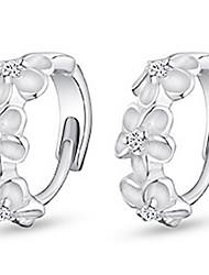 cheap -Women's Cubic Zirconia Hoop Earrings Earrings Huggie Earrings Flower Ladies Work Birthstones Sterling Silver Zircon Cubic Zirconia Earrings Jewelry Silver For Wedding Daily Masquerade Engagement