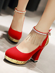 cheap -Women's Party Heels Chunky Heel Tassel Leatherette Spring / Summer Black / Red / Blue / Wedding / EU39