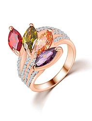 cheap -Hot Sale Unique Fashion Multicolor 18K Rose Gold Plated AAA Zircon Engagement/Weddding bijoux Rings Fine JewelryImitation Diamond Birthstone