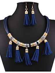 cheap -Jewelry Set Choker Necklace Layered Tassel Ladies Tassel Vintage Party Work Casual Leather Earrings Jewelry Royal Blue For Party Special Occasion Anniversary Birthday Engagement Gift 1 set
