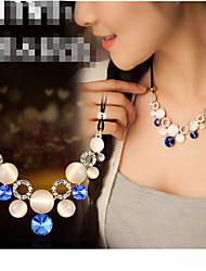 Недорогие -Жен. Кристалл Заявление ожерелья Дамы Синтетические драгоценные камни Опал Сплав Зеленый Синий Ожерелье Бижутерия Назначение Для вечеринок