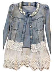 cheap -Women's Daily / Weekend Spring / Fall Regular Denim Jacket, Solid Colored Blue & White Round Neck Long Sleeve Cotton / Lace Patchwork Blue