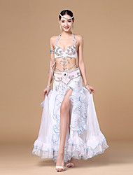cheap -Belly Dance Outfits Women's Performance Polyester Sashes / Ribbons / Sequin / Ruffles Sleeveless Dropped Skirt