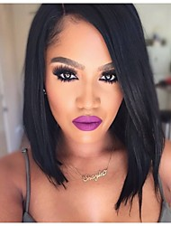 cheap -Human Hair Glueless Lace Front Lace Front Wig Bob style Brazilian Hair Straight Wig 130% 150% Density with Baby Hair Natural Hairline African American Wig 100% Hand Tied Women's Short Medium Length