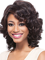 cheap -Synthetic Wig Curly Wavy Wavy Side Part Wig Short Black Synthetic Hair 16 inch Women's Black