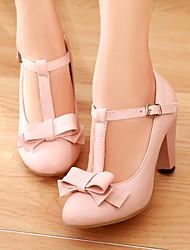 cheap -Women's Chunky Heel Bowknot Leatherette Spring / Summer Beige / Green / Pink / Dress / EU38