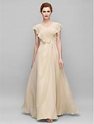 cheap -Sheath / Column Mother of the Bride Dress Elegant Plus Size V Neck Floor Length Chiffon Sleeveless with Criss Cross Appliques 2020