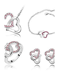 cheap -Women's Crystal Jewelry Set Heart Hollow Heart Ladies Crystal Earrings Jewelry Purple / Blue / Pink For Wedding Party Daily Casual Masquerade Engagement Party / Rings / Necklace / Bracelets & Bangles