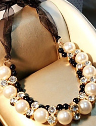 cheap -Women's Pearl Statement Necklace Pearl Necklace Lasso Ladies Luxury Pearl Imitation Diamond Alloy White Necklace Jewelry For Party